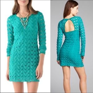 "Free People Emerald Crochet ""Wild Thing"" Dress, XS"